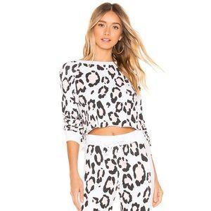 Wildfox leopard beach house sweatshirt white xs